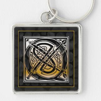 "Q Initial ""Celtic Black Stone"" Key Chain"