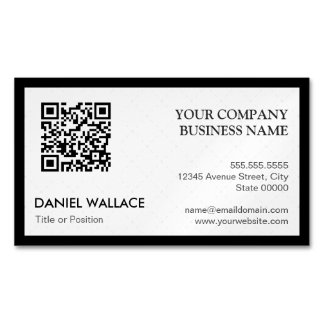 QR Code - Modern Professional Black White Magnetic Business Card