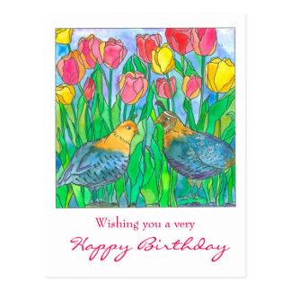 Quail Tulip Garden Happy Birthday Postcard