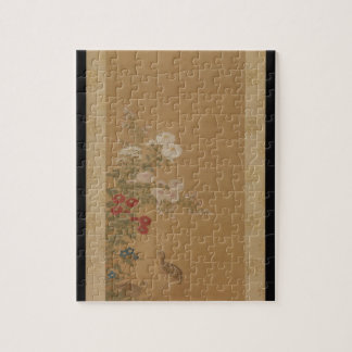 Quail Under Autumn Flowers - Japan (Edo Period) Jigsaw Puzzle