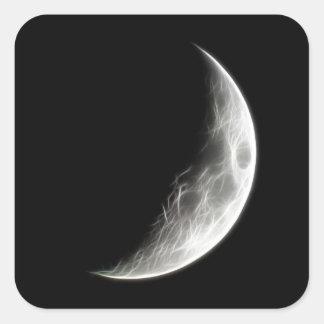 Quarter Moon Lunar Planet Globe Square Sticker