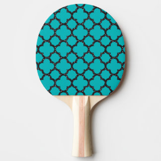 Quatrefoil black glitter and blue pattern ping pong paddle