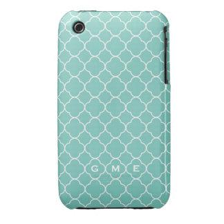 Quatrefoil clover pattern blue teal 3 monogram iPhone 3 case