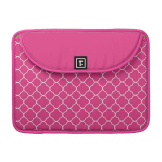 Quatrefoil clover pattern hot pink white fashion sleeve for MacBooks