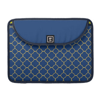Quatrefoil clover pattern navy blue yellow fashion sleeve for MacBook pro