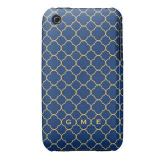 Quatrefoil clover pattern navy yellow 3 monogram Case-Mate iPhone 3 cases