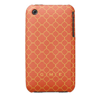 Quatrefoil clover pattern orange yellow 3 monogram Case-Mate iPhone 3 cases