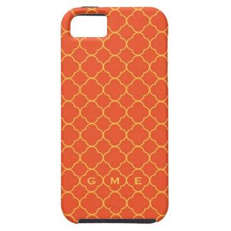 Quatrefoil clover pattern orange yellow 3 monogram iPhone 5 cover