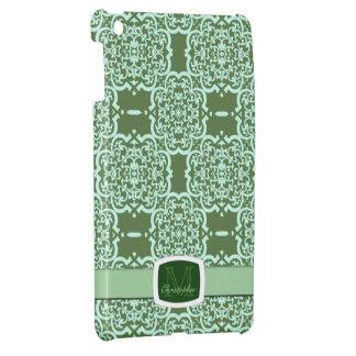 Quatrefoil Damask (Green) iPad Mini Cases