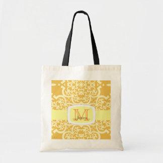 Quatrefoil Damask (Yellow) Tote Bag