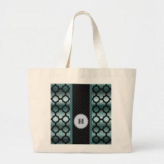 Quatrefoil Dark Turquoise Monogramed Multi Pro Large Tote Bag