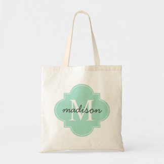 Quatrefoil Mint Green Custom Personalized Monogram Tote Bag