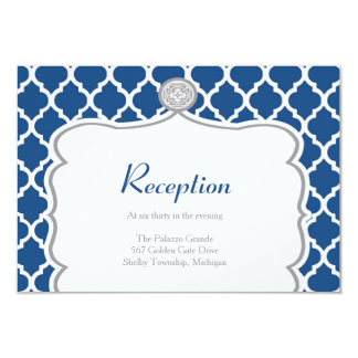 Quatrefoil Monaco Blue Wedding Reception Card