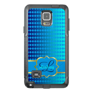 Quatrefoil monogram and blue squares pattern OtterBox samsung note 4 case