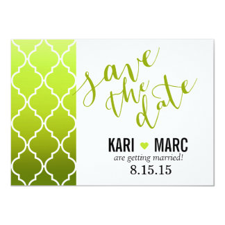 Quatrefoil Ombre Save the Date | spring green Card