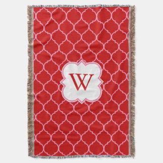 Quatrefoil Pattern with Monogram Throw Blanket