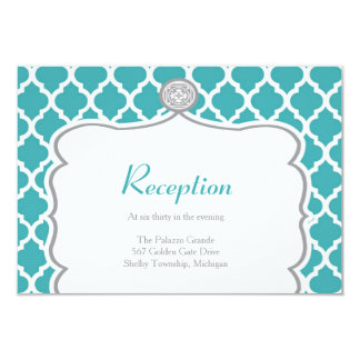 Quatrefoil Turquoise Wedding Reception Card
