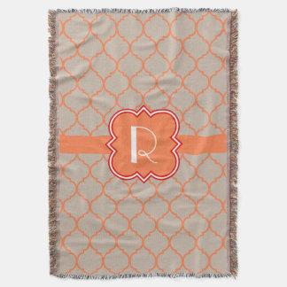 Quatrefoil  with Monogram Throw Blanket
