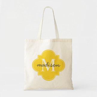 Quatrefoil Yellow Custom Personalized Monogram Tote Bag