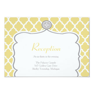 Quatrefoil Yellow Wedding Reception Card