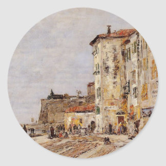 Quay at Villefranche by Eugene Boudin Classic Round Sticker