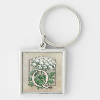 Queen Anne's Lace Flower Monogram Silver-Colored Square Key Ring