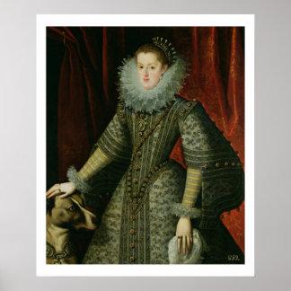 Queen Margarita of Austria, 1609 (oil on canvas) Poster
