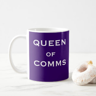 Queen of Comms Funny Female Head Communications Coffee Mug