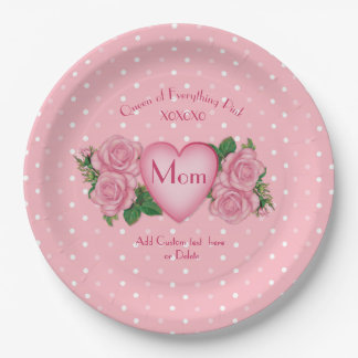 Queen of Everything Pink Mum Paper Plate