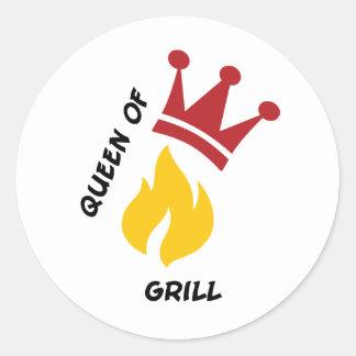 Queen of Grill Round Sticker