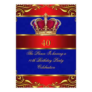 Queen Prince King Regal Red Gold Blue Crown Invites