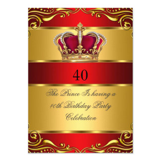 """Queen Prince King Regal Red Gold Crown Birthday 4.5"""" X 6.25"""" Invitation Card"""