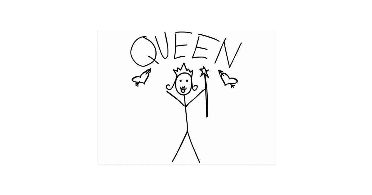 Queen Stick Figure Postcard Zazzle Co Nz