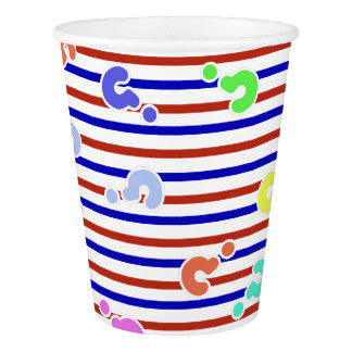Question Marks Funky Stripes Paper Cup