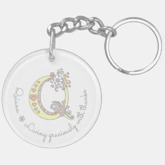 Quiana monogram letter q name and meaning keyring Double-Sided round acrylic key ring