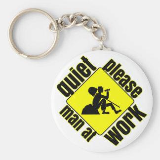 Quiet please, man at work key ring