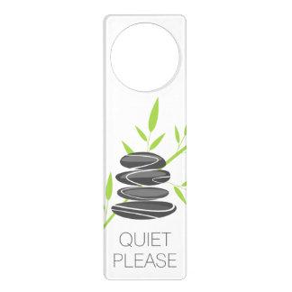Quiet please sign door hanger | Zen pebble stones