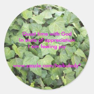 Quiet Time With God Round Sticker