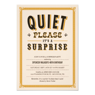 Quiet Vintage Surprise Party Invitations