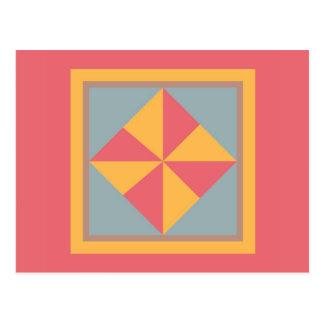 Quilt Postcard - Pinwheel (gold/salmon)