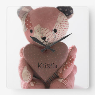 quilted teddy bear with calico heart clock