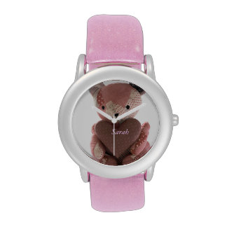 quilted teddy bear with calico heart watch