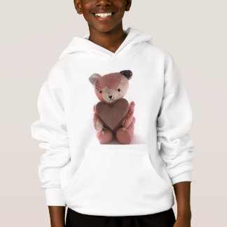 quilted teddy bear with heart kids hoodie