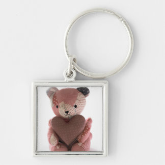 quilted teddy bear with heart premium keychain