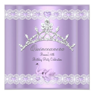 Quinceanera 15 15th Party Purple Swans Tiara Card