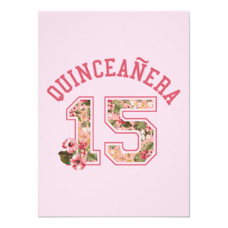Quinceanera 15 Athletic Pink Floral Card