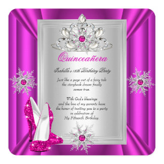 Quinceanera 15 Birthday Party Pink Heels Card