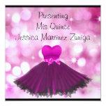 QUINCEANERA 15 Black Pink Dress Bubbles 2 13 Cm X 13 Cm Square Invitation Card