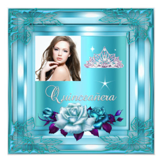 Quinceanera 15 Party Blue Teal Roses Photo Card