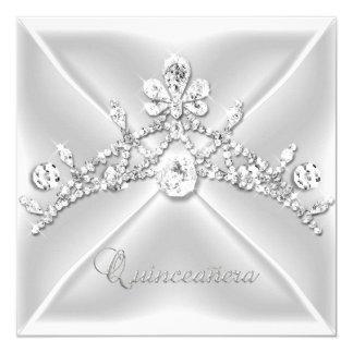 Quinceanera 15 Tiara Silver White Diamond 13 Cm X 13 Cm Square Invitation Card